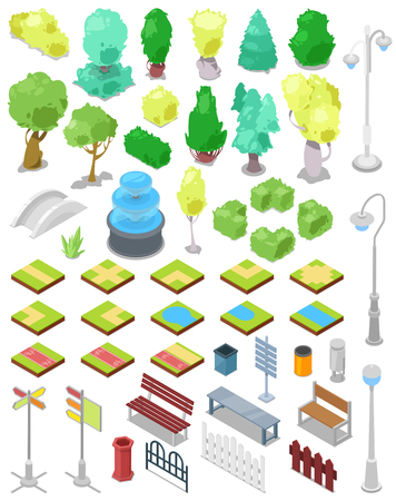 Park vector parkland with green garden trees with street lights or lamps and fountain in city illustration set of isometric parkway with benches and bins in cityscape isolated on white background