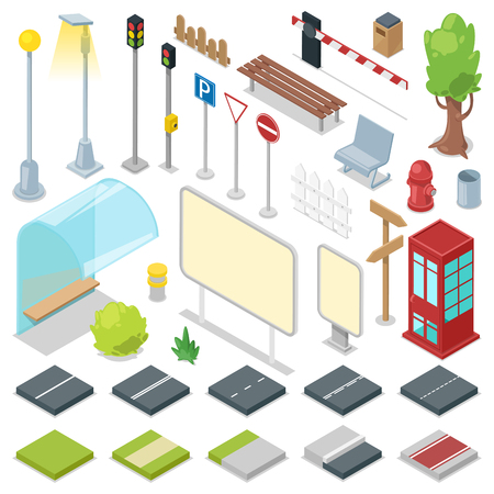 Street vector city roads with traffic light and bus stop illustration of isometric park with bench and streetlight in cityscape set isolated on white background