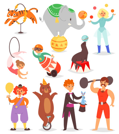 Circus people vector isolated on white background isolated on plain background.