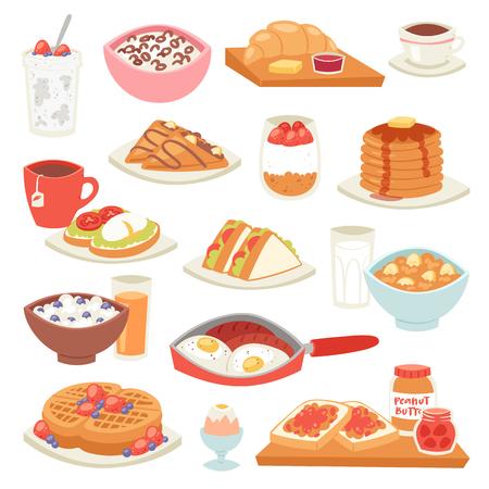 Colazione vettoriale caffè e uova fritte con dessert dolce al mattino illustrazione set di porridge di cibo sano o cereali e cornetto su coffeebreak isolato su sfondo bianco Vettoriali
