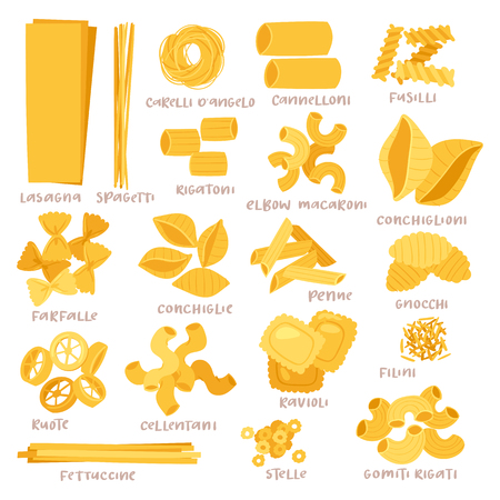 Pasta vector cooking macaroni and spaghetti and ingredients of Italian cuisine illustration set of traditional food in Italy isolated on white background