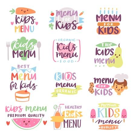 Kids menu sign vector illustration lettering template
