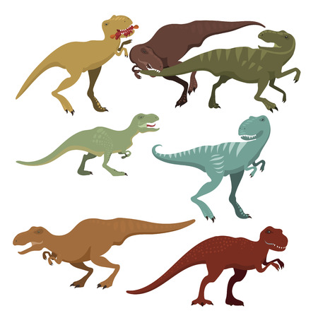 Scary dinosaurs creature of wild predator in prehistoric extinct tyrannosaurus t-rex illustration.