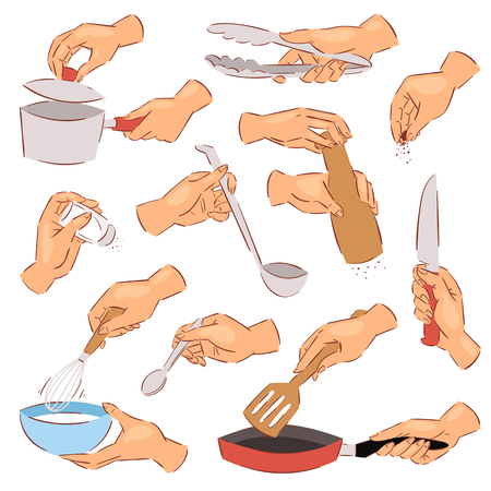 Cooking hands vector chef preparing food on frying pan using kitchenware or cookware illustration set of hand with bowl or knife isolated on white background