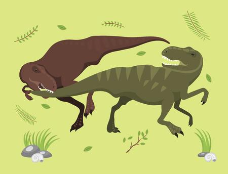 Scary dinosaurs vector tyrannosaurus t-rex danger creature force wild jurassic predator prehistoric extinct illustration 일러스트