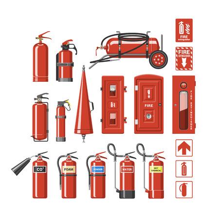 白い背景に隔離された消防士の消火装置の消火イラストセットを消火する安全と保護のための消火器ベクトル消火器