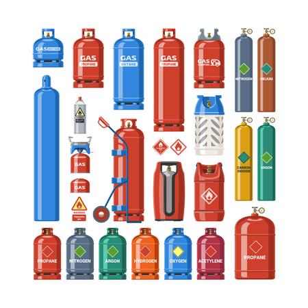 Gasflaschenvektor-lpg-Gasflasche und Gasflaschenillustration. Satz des zylinderförmigen Behälters mit verflüssigten komprimierten Gasen mit Hochdruck und Ventilen lokalisiert auf weißem Hintergrund.