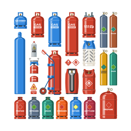 Gasfles vector lpg gasfles en gasfles illustratie. Set van cilindrische container met vloeibaar gecomprimeerde gassen met hoge druk en kleppen geïsoleerd op een witte achtergrond.