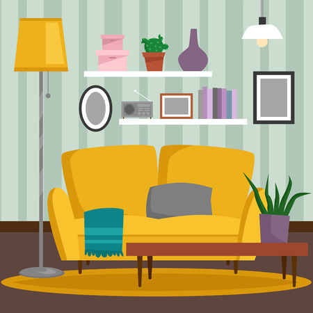 VIP vintage interior furniture rich wealthy house room with sofa set brick wall background vector illustration. Classic retro antique luxury apartment indoor.