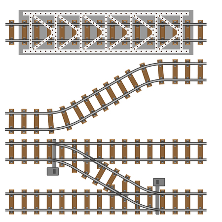 Vector illustration of railway parts grey rails maintenance concrete technology build equipment metro engineering construction.  イラスト・ベクター素材