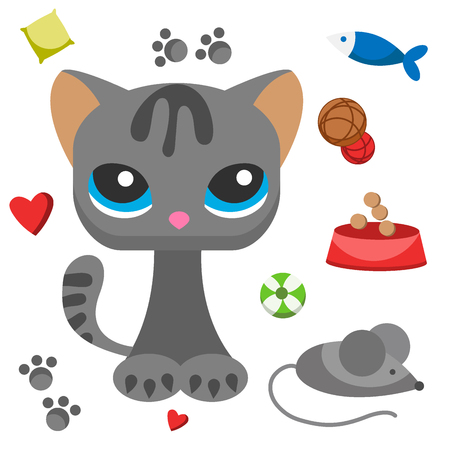 Cat and mouse cute kitty pet cartoon cute animal cattish character catlike illustration Stock Illustratie