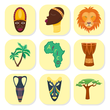 Africa vector icons jungle tribal and ancient safari african traditional travel culture illustration. Poster design travel culture drum music south abstract cute elements. Sahara vase traditional Çizim
