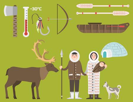 Alaska vector state symbols flat style america travel animal national geographic outdoor wildlife north arctic concept illustration Illustration