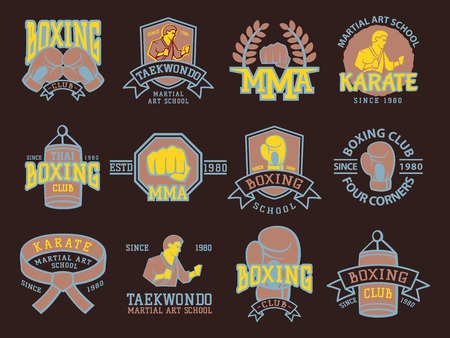 Set of cool fighting club emblems martial training champion graphic style punch sport fist karate vector illustration. Illustration