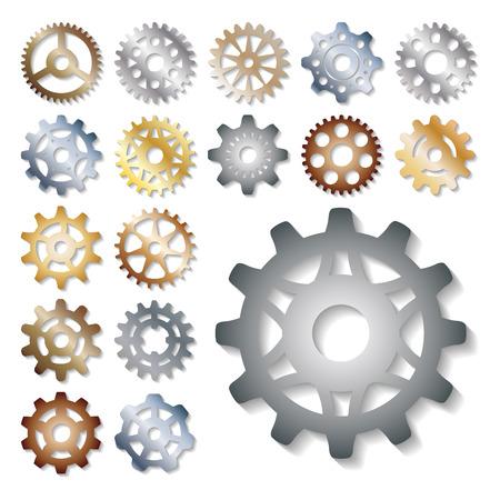 Gear icons vector illustration mechanics gearing web development shape work cog sign. Engine wheel equipment machinery element. Circle turning technical tool. Vettoriali