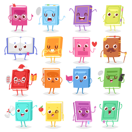 Book character vector cartoon emotion textbook with childish face expression on notebook cover illustration educational set of reading studying at school isolated on white background.