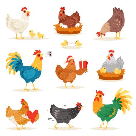 Hühnervektor-Karikaturkükencharakterhenne und -hahn in der Liebe mit den Babyhühnern oder -henne, die auf Eiern im Hühnerstallillustrationssatz inländischen Vögeln im Hühnerstall lokalisiert auf weißem Hintergrund sitzen. Vektorgrafik