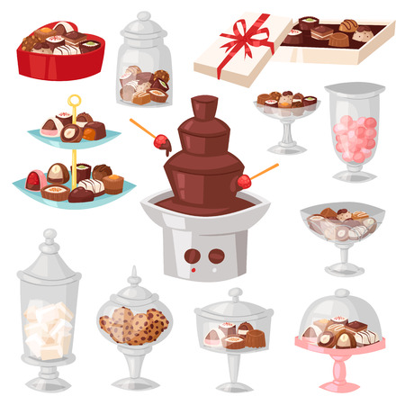 Chocolate candy vector sweet confection dessert with cocoa in glass jar in confectionery shop illustration of tasty chocolate truffle in vase of candy shop set isolated on background.