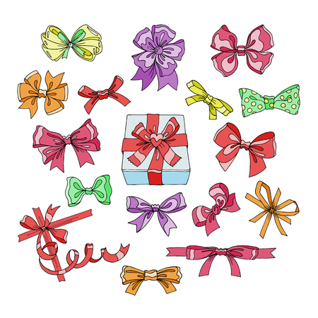 Bow vector bowknot or ribbon for decorating gifts on Christmas or Birtrhday illustration set of girlish bowed tie or ribboned presents on holidays celebration isolated on white background