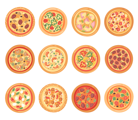 Pizza vector italian food with cheese and tomato in pizzeria and baked pie with sausages in pizzahouse in Italy illustration set isolated on white background