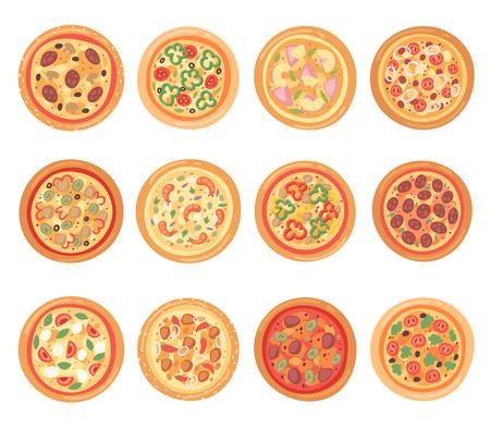Pizza vector comida italiana con queso y tomate en pizzería y pastel horneado con salchichas en pizzahouse en Italia ilustración conjunto aislado sobre fondo blanco. Ilustración de vector