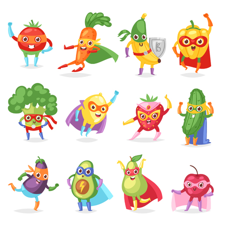 Fruits in superhero characters wearing mask and cape.