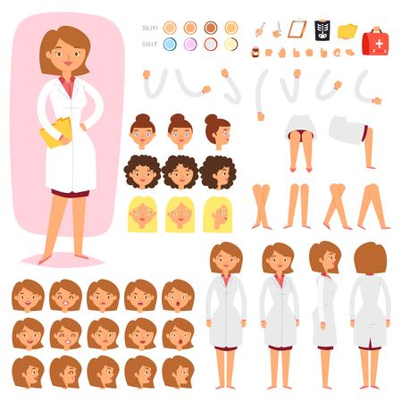 ●女性医療キャラクター頭部と顔面の顔のベクトル作成のドクターコンストラクタベクター作成 は、白い背景に分離された手の足を持つ病院人体のイラストセット 写真素材 - 99518082