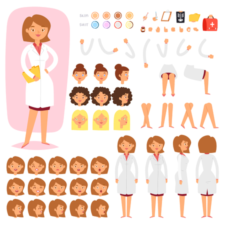Doctor constructor vector creation of female medical character head and face emotions illustration set of hospital person body with hands legs construction isolated on white background
