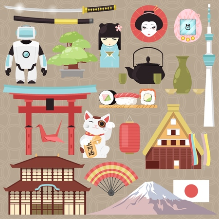 Japan vector japanese culture and architecture or oriental cuisine sushi in Tokyo illustration set of Japanization symbols character robot or geisha doll in kimono isolated on background
