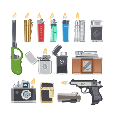 Lighter vector cigarette-lighter with fire or flame light to burn cigarette illustration set of flammable smoking equipment isolated on white background Illustration