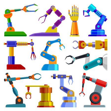 Robot arm vector robotic machine hand technology equipment illustration set of robotechnic engineer character in industry isolated on white background. Illustration
