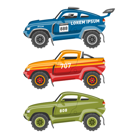 Sport race car vector speed automobile and offroad rally car colorful fast motor racing auto driver transport motorsport illustration. Championship extreme transportation.