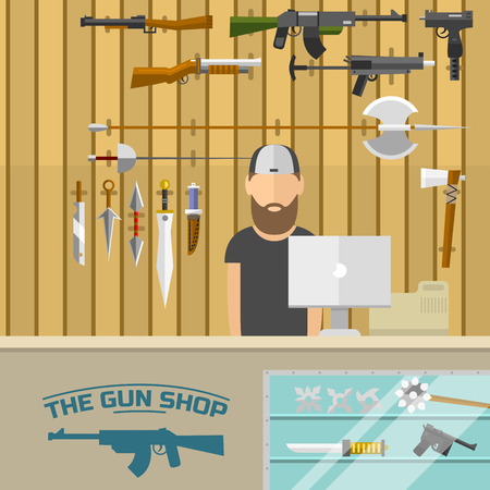 Weapon banner with men choosing gun and shooting at charges vector illustration. Revolver decorative military business advertising shop.