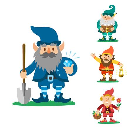 Fairy tale fantastic gnome dwarf elf character poses magical leprechaun cute fairy tale man vector illustration. Smile boy troll decoration happy magic fairytale toy. Illustration