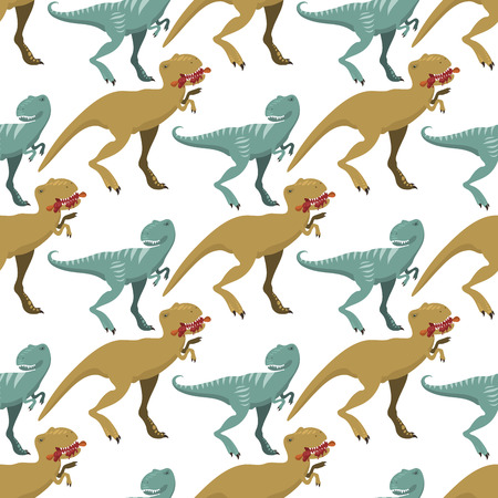 Scary dinosaurs vector tyrannosaurus seamless pattern background t-rex danger creature force wild jurassic predator prehistoric extinct illustration