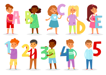 Kids alphabet vector cartoon children font with boy or girl character holding alphabetic letter or number illustration isolated on white background.