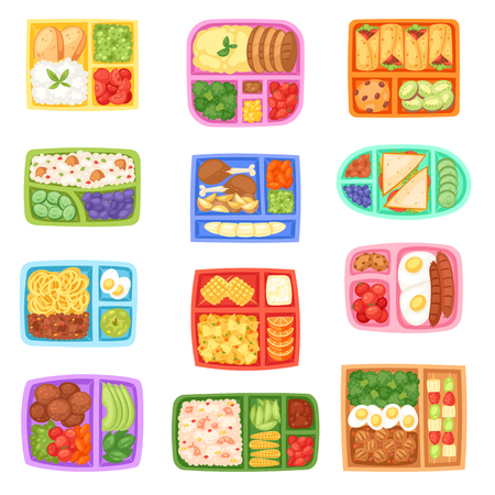 Lunch box vector school lunchbox with healthy food vegetables or fruits boxed in kids container illustration set of packed meal sausages or bread isolated on white background.