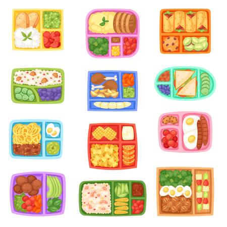 Lunch box wektor szkolny lunchbox ze zdrową żywnością warzywa lub owoce w pudełkach dla dzieci pojemnik ilustracja zestaw zapakowanych kiełbasek lub chleba na białym tle