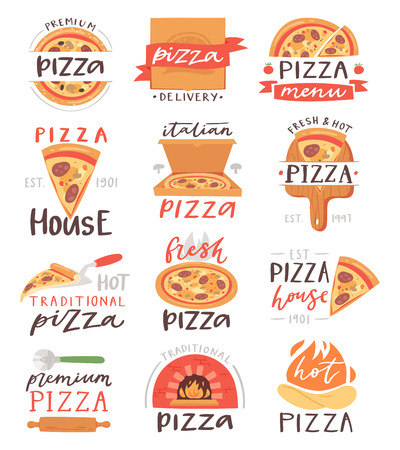 Pizza lettering vector italian food sign of pizzeria or pizzahouse for typography print illustration set of baked pie or pizzaoven on banner with text isolated on white background Иллюстрация