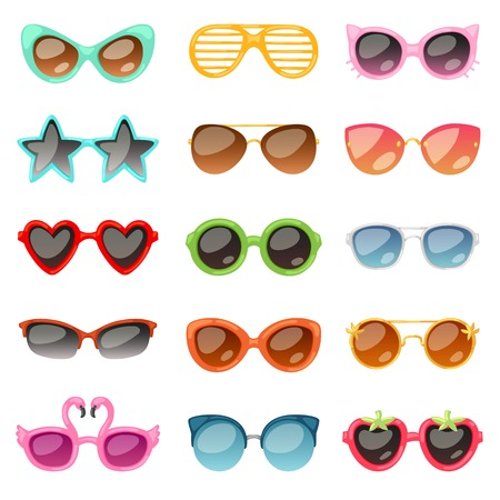 Glasses vector cartoon eyeglasses or sunglasses in stylish shapes for party and fashion optical spectacles set of eyesight view accessories illustration isolated on white background