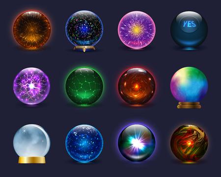 Sfera magica di vetro di cristallo magico di vettore della sfera magica e sfera trasparente del fulmine lucido come insieme magnifico dell'illustrazione dell'indovino di previsione isolato su priorità bassa