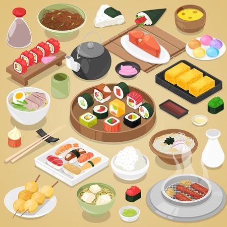 Japanese food vector eat sushi sashimi roll or nigiri and seafood with rice in Japan restaurant illustration Japanization cuisine with chopsticks set isolated on background Banco de Imagens