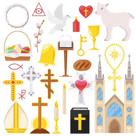 Religion vector catholic church or cathedral and religious sings of christianity illustration set of christian cross or bible with candles isolated on white background