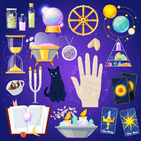 Fortune telling vector fortune-telling or fortunate magic of magician with cards and candles illustration set of astrology or mystical signs isolated on background Banco de Imagens - 100873615