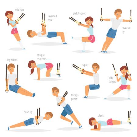 Fitness trx exercices vecteur caractère sportif femme ou homme exerçant dans une salle de sport pour l'entraînement ou le sport ensemble d'illustration de formation de sportifs en vêtements de sport avec des sangles isolé sur fond blanc Vecteurs