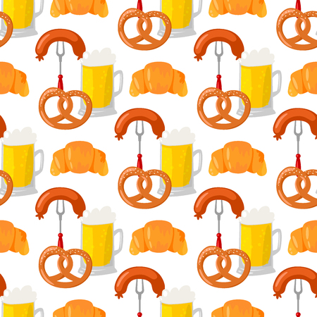 Beer glass pretzel vector seamless pattern celebration refreshment brewery oktoberfest background.