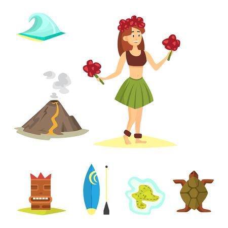 Hawaii icons dancer woman tiki gods totem pole tiki torches and fish illustration.