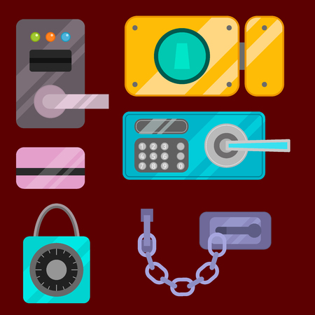Different house door lock icons set. Vector safety password privacy element with key and padlock. Protection security keyhole illustration.