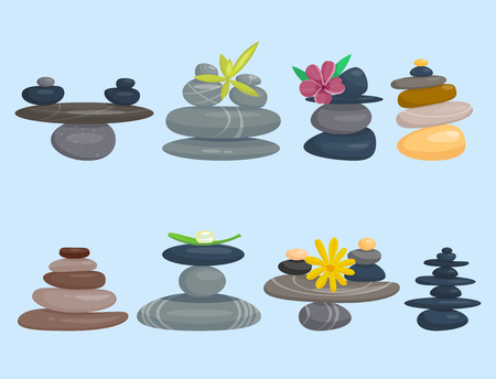 Pyramid from sea, pebble relax heap stones, healthy wellness black massage, meditation natural tool spa balance therapy illustration.