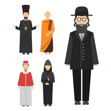 Religion people characters vector group of different nationalities. Human wearing traditional clothes. Ilustracja